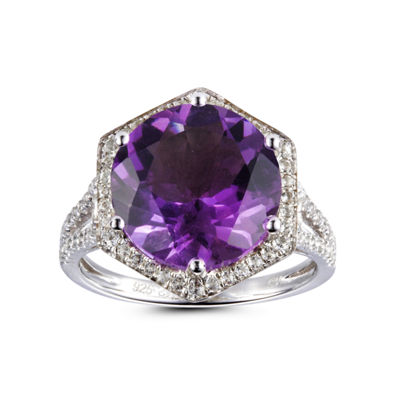 Womens Purple Amethyst Sterling Silver Halo Cocktail Ring