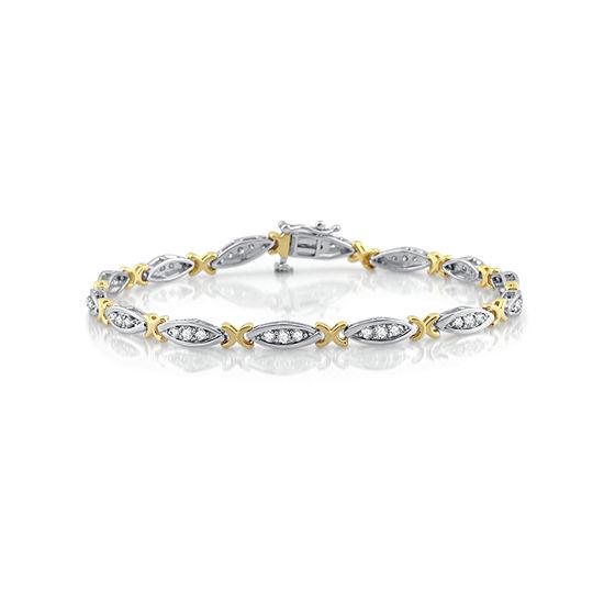 7.5 Inch 1 CT. T.W. White Diamond 10K Gold Link Bracelet