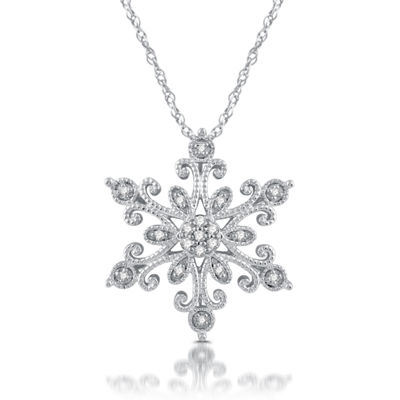 Diamond Blossom Womens 1/10 CT. T.W. Genuine White Diamond Sterling Silver Pendant Necklace