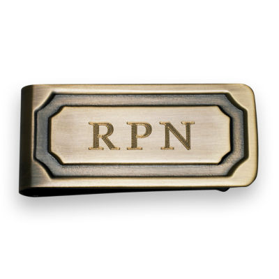 Personalized Antique Brass Dye Money Clip