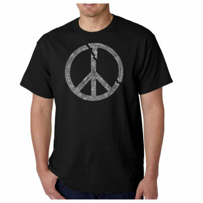 Los Angeles Pop Art World Conflict Short Sleeve Word Art T-Shirt-Men's Big and Tall