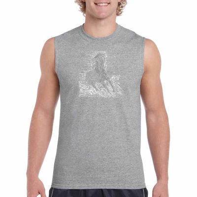 Los Angeles Pop Art Popular Horse Breeds Sleeveless Word Art T-Shirt- Men's Big and Tall