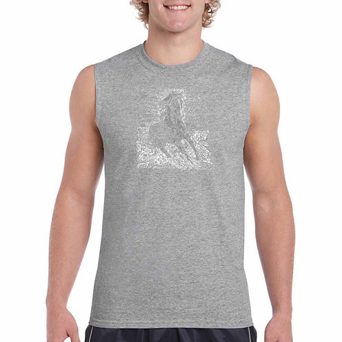Los Angeles Pop Art Popular Horse Breeds Sleeveless Crew Neck T-Shirt-Big and Tall