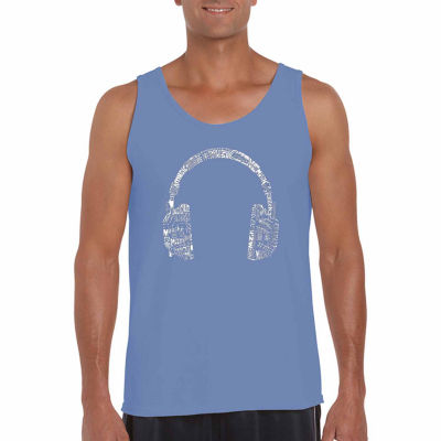 "Los Angeles Pop Art ""Headphones-Languages"" Word Art Tank Top- Men's Big and Tall"