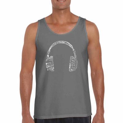 "Los Angeles Pop Art ""Headphones-Languages"" Word Art Tank Top- Men's Big and Tall"""