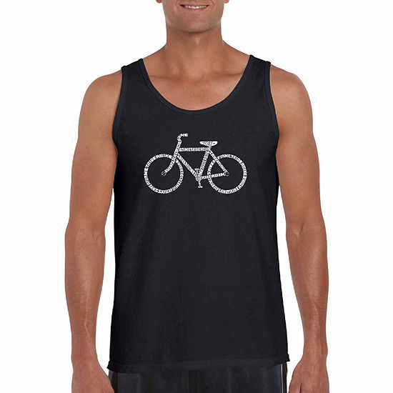 """Los Angeles Pop Art """"Save A Planet Ride A Bike"""" Word Art Tank Top- Men's Big and Tall"""""""