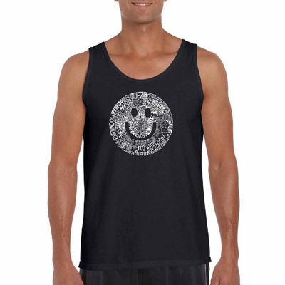 "Los Angeles Pop Art ""Smile In Different Languages""Word Art Tank Top- Men's Big and Tall"""
