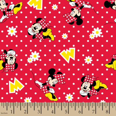 Disney Minnie Dot Daisies Flannel Fabric