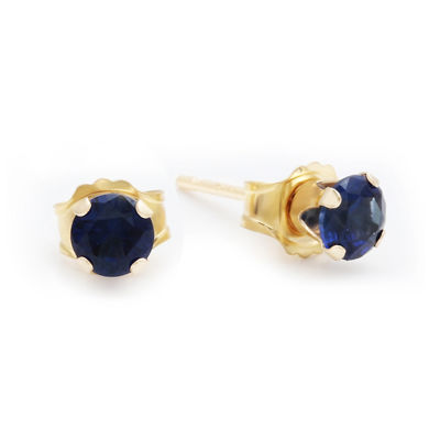 Lab-Created 4mm Sapphire 10K Yellow Gold Stud Earrings