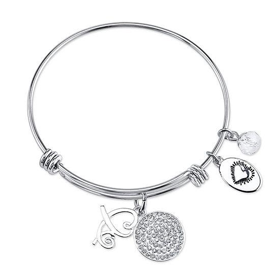 Footnotes Crystal Stainless Steel Bangle Bracelet