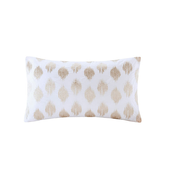 INK + IVY Stella Dot Cotton Percale Embroidered Oblong Throw Pillow