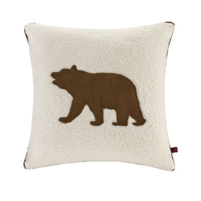 Woolrich Bear Appliqued Square Throw Pillow