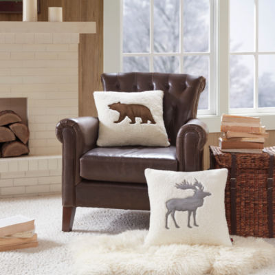 Woolrich Moose Appliqued Square Throw Pillow