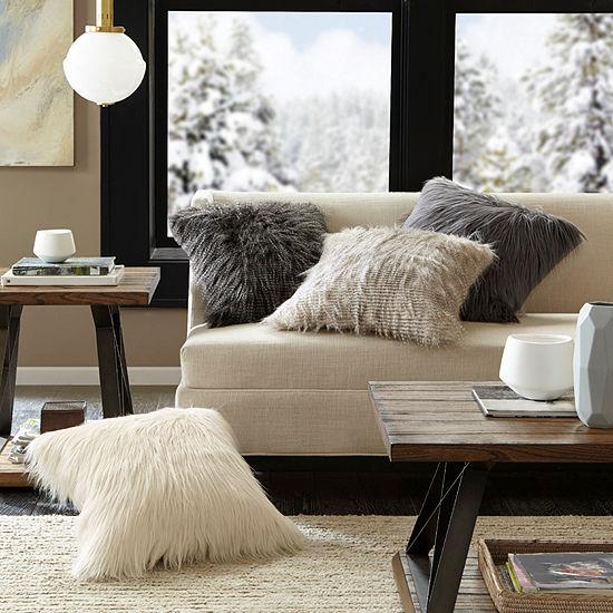 Madison Park Edina Luxury Faux Fur Square Throw Pillow