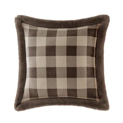 Woolrich Plush Faux Fur Ultra Soft  Square Throw Pillow