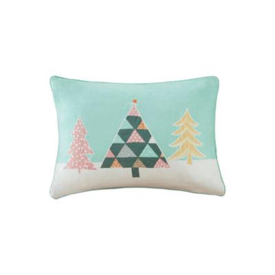 Madison Park Festive Pastel Wonderland Embroidered Oblong Throw Pillow