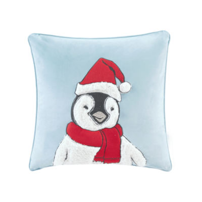 Madison Park Fluff The Holiday Penguin Embroidered Square Throw Pillow