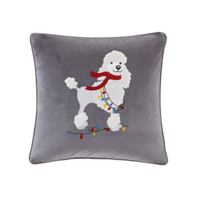 Madison Park Francy The Holiday Poodle Embroidered Square Throw Pillow