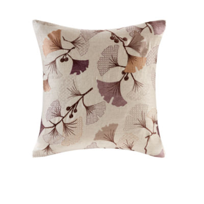 Madison Park Gingko Bloom Embroidered Square Throw Pillow