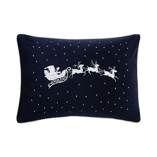 Madison Park Santa's Christmas Eve Embroidered Oblong Throw Pillow