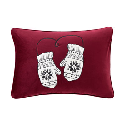 Madison Park Sweet Holiday Mittens Embroidered Oblong Throw Pillow