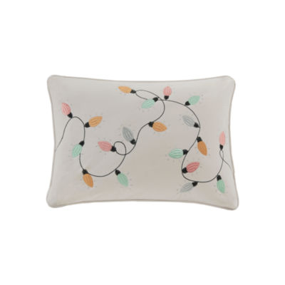 Madison Park Jolly Lights Embroidered Oblong Throw Pillow