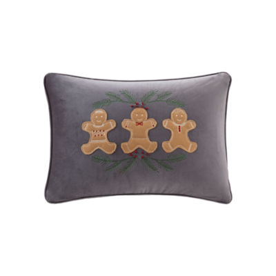 Madison Park Holiday Gingerbread Embroidered Oblong Throw Pillow