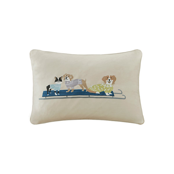 Madison Park Holiday Sleighing Dogs Embroidered Oblong Throw Pillow