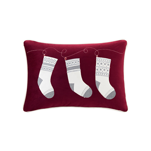 Madison Park Holiday Stocking Surprise Embroidered Oblong Throw Pillow