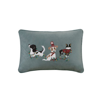 Madison Park Holiday Troublemakers Embroidered Oblong Throw Pillow
