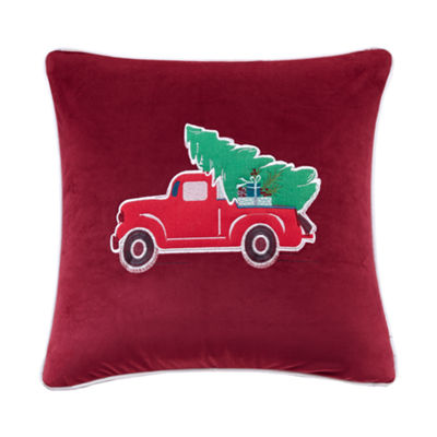 Madison Park Holiday Delivery Embroidered Square Throw Pillow