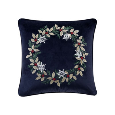 Madison Park Holiday Wreath Embroidered Square Throw Pillow