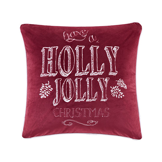 Madison Park Holly Jolly Christmas Embroidered Square Throw Pillow