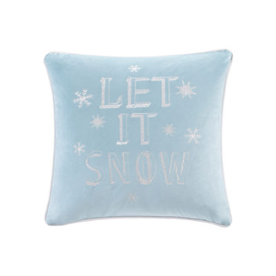Madison Park Let It Snow Embroidered Square Throw Pillow