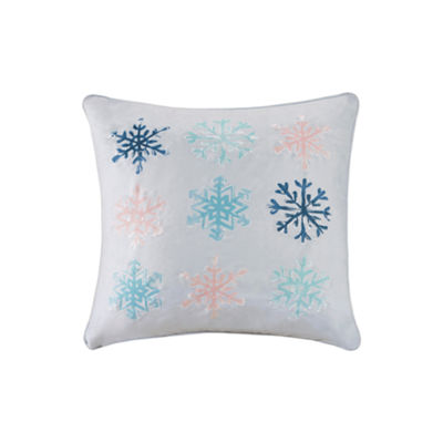 Madison Park Minty Snowflakes Embroidered Square Throw Pillow
