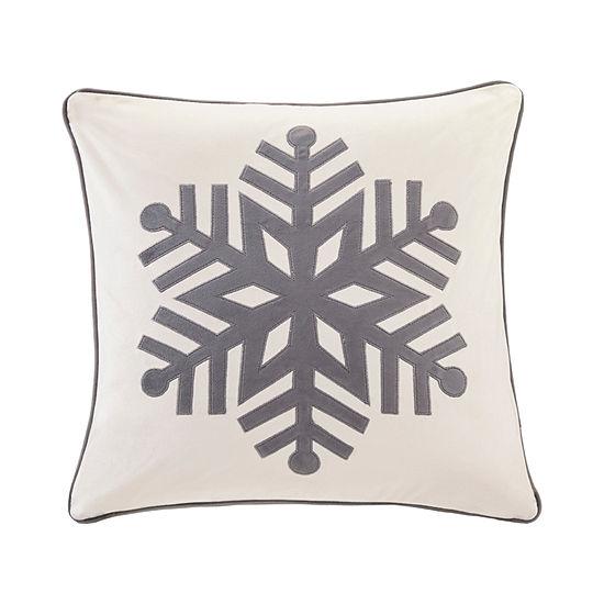 Madison Park Velvet Snowflake Velvet Embroidered Square Throw Pillow