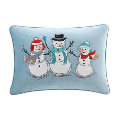 Madison Park Winter Snow Buddies Velvet Embroidered Oblong Throw Pillow
