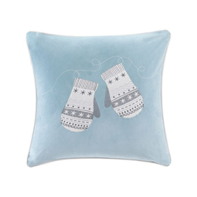 Madison Park Winter Snow Mittens Velvet Embroidered Square Throw Pillow