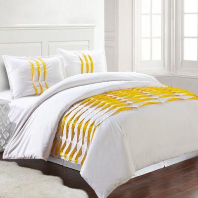 Pacific Coast Textiles 3Pc 100% Cotton Pinch Pleat Comforter Cover Set