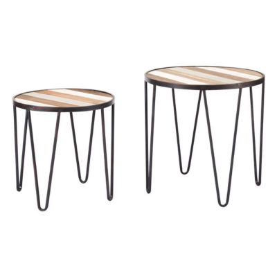 Set of 2 Wood Planked End Tables