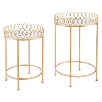 Set of 2 Mirrored Tray Top Nesting Tables