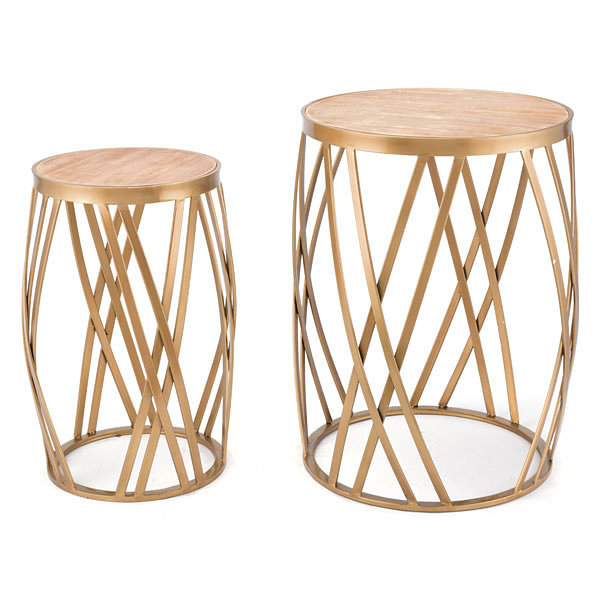 Criss Cross Set of 2 End Tables