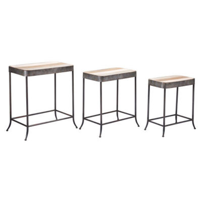 Set of 3 Wood Top Nesting Tables