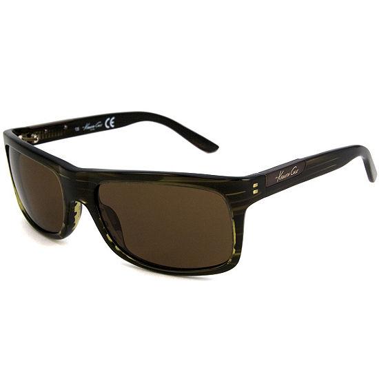 Kenneth Cole Sunglasses - Kc 4128 / Frame: Olive Green Stripe Lens: Brown