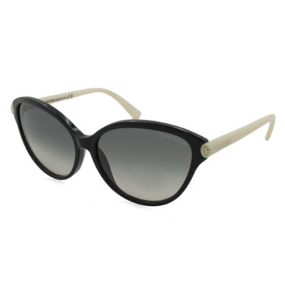 Tom Ford Sunglasses - Priscilla / Frame: Black With Ivory Temples Lens: Gray Gradient