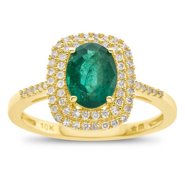 Fine Jewelry Womens Genuine Emerald & 1 1/10 Ct. T.W. Diamond 10K Gold Cocktail Ring z214B5