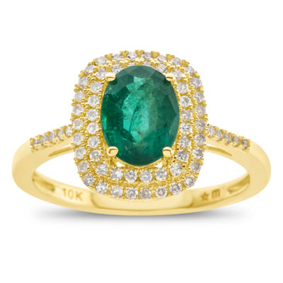 Womens Genuine Emerald & 1 1/10 Ct. T.W. Diamond 10K Gold Cocktail Ring