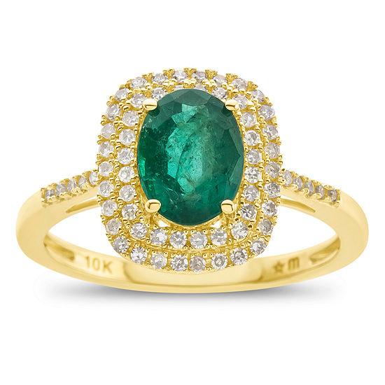 Womens Genuine Emerald & 1/3 CT. T.W. Diamond 10K Gold Cocktail Ring