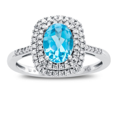 Womens 10K White Gold Genuine Blue Topaz & 1/3 CT. T.W. Diamond Cocktail Ring