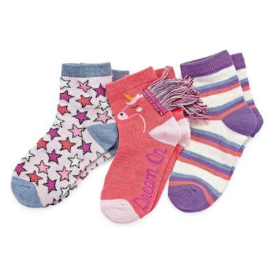 Girls 3 Pair No Show Socks-Big Kid
